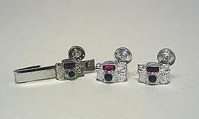 Vintage Silver Camera Form Cufflinks And  tie Clip