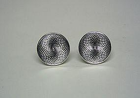 Vintage Silver Tone Spiral Circle  cufflinks