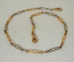 14K Gold And Platinum Watch Chain