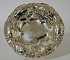 An American Silver Dish With Repousse