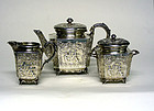 Antique Silver Solitaire Tea Set, Cherub  Theme