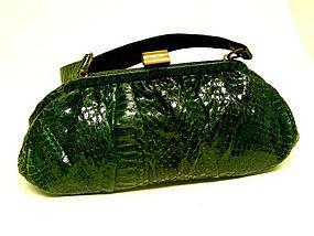 Vintage Green Cobra Snake Skin Handbag, circa 1930