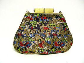 Art Deco Silk And Gem Set Evening Bag
