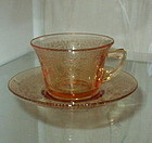 Cambridge BYZANTINE Etch Cup and Saucer Set, Amber
