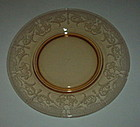 "Cambridge BYZANTINE Etch #520 8"" Luncheon Plate, Amber"