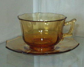 Cambridge DECAGON Cup and Saucer Set, Amber