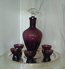 Cambridge AMETHYST Decanter Set on Silverplate Tray