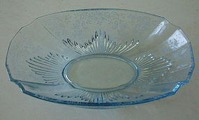 "Fostoria MEADOW ROSE 12 1/2"" Flame Bowl Azure Blue"