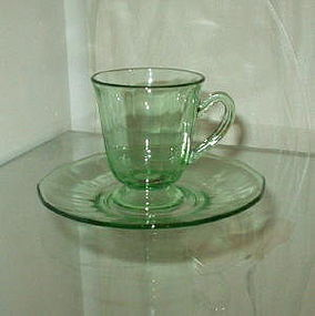 Fostoria FAIRFAX Green Footed After-Dinner Cup Saucer