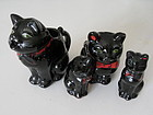 Shafford Black Ceramic CAT Sugar Creamer Shakers Set