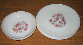 Fire King FLEURETTE Soup Bowls and Dinner Plates
