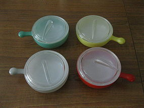 Glasbake Covered French Casseroles or Soup Bowls, Set 4