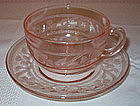 Hazel Atlas CLOVERLEAF Cup and Saucer Sets, Pink