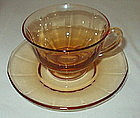 Fostoria FAIRFAX Footed Cup and Saucer Set, Amber