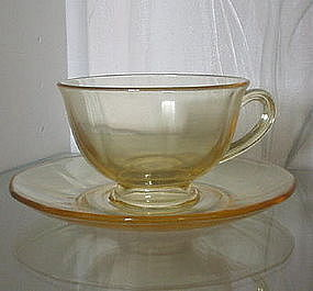 Fostoria FAIRFAX Topaz (Yellow) Cup and Saucer Set