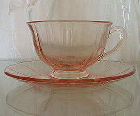 Fostoria FAIRFAX #2375 Footed Cup and Saucer, Rose Pink