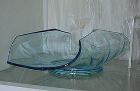 "Imperial OCTAGON 14"" Glass Muffin Basket, Azure Blue"