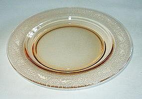 "Fostoria SEVILLE Etched 7.5"" Salad Plates (7), Amber"