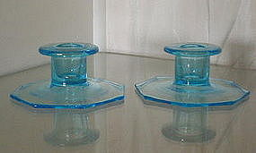 Central Glass OCTAGON Candleholder Pair, Azure Blue
