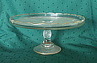 "Jeannette HARP 9"" Cake Stand, Crystal, Gold Trim"