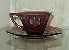 Hazel Atlas MOROCCAN AMETHYST Cup and Saucer Sets (3)