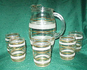 Bartlett Collins Glass 6 Pc Juice Set, Pitcher Tumblers