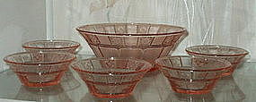 Jeannette DORIC 7 Piece Berry or Dessert Bowl Set, Pink