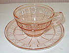 Jeannette Glass DORIC Cup and Saucer, Pink