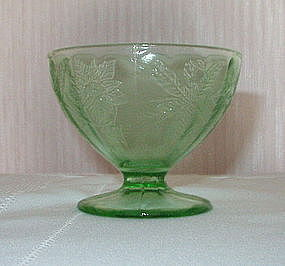 Jeannette FLORAL Poinsettia Footed Sherbet, Green