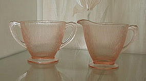 Jeannette HOMESPUN Fine Rib Sugar and Creamer, Pink