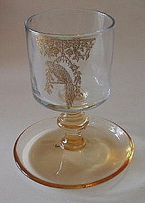 Central Glass Cigarette Stem Etched Bird, Amber / Gold