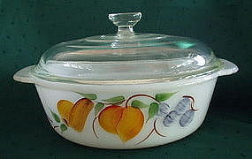 Fire King GAY FAD Fruits 1.5 Quart Covered Casserole