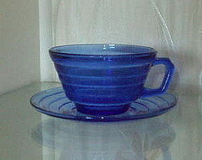 Hazel Atlas MODERNTONE Cup and Saucer Sets (9), Cobalt