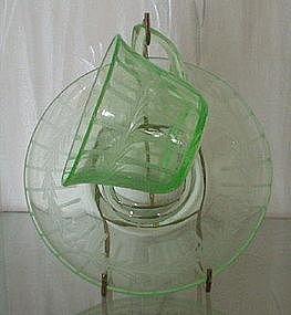 Cambridge Rock Crystal Cup Saucer Emerald Green Light