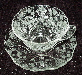 Cambridge ROSE POINT #3400/54 Cup Saucer Set, Crystal