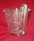 "Cambridge ROSE POINT #3400 6"" Ice Bucket, SP Tongs"