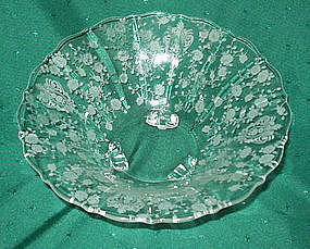 "Cambridge ROSE POINT #3900 10"" 3 Footed Flared Bowl"