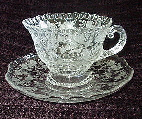 Cambridge ROSE POINT #3500/1 Cup and Saucer Set Crystal
