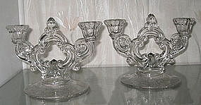 Cambridge ROSE POINT #3400/647 Double Candlestick Pair