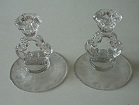 "Cambridge ROSE POINT #3400/646 5"" Candlestick Pair, Cry"