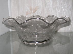 "Cambridge ROSE POINT #1351 10 1/2"" Crimped Bowl"