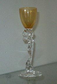 Cambridge Nude Statuesque Amber #3011 1 oz Brandy Stem