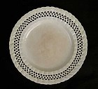 Leeds creamware plate with pierced hearts border, 18th century