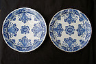 Pair of Dutch Delft �pancake� plates, 18th c