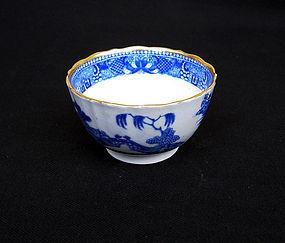 English 18th c blue and white transfer printed tea bowl