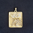 Danish Déco bronze pendant
