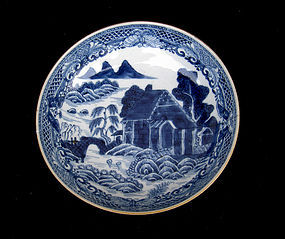 Chinese blue and white saucer bowl in the Trench Mortar pattern