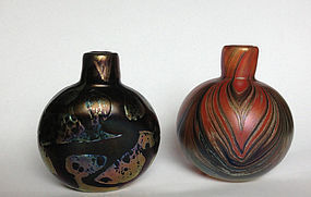 Two bottle vases in Art Nouveau style by Mtarfa, Malta
