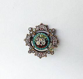 Italian micro mosaic pin, 19th century