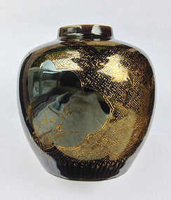 Mirror black and gilt Chinese jar, Kangxi revival